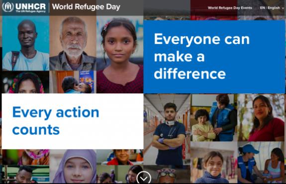Screenshot, UNHCR website for World Refugee Day - https://www.unhcr.org/refugeeday/
